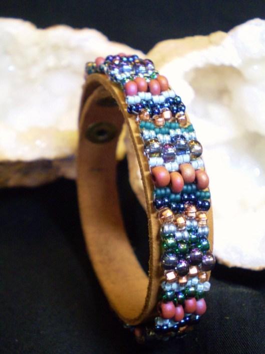 Beaded Tapestry Leather Bracelet