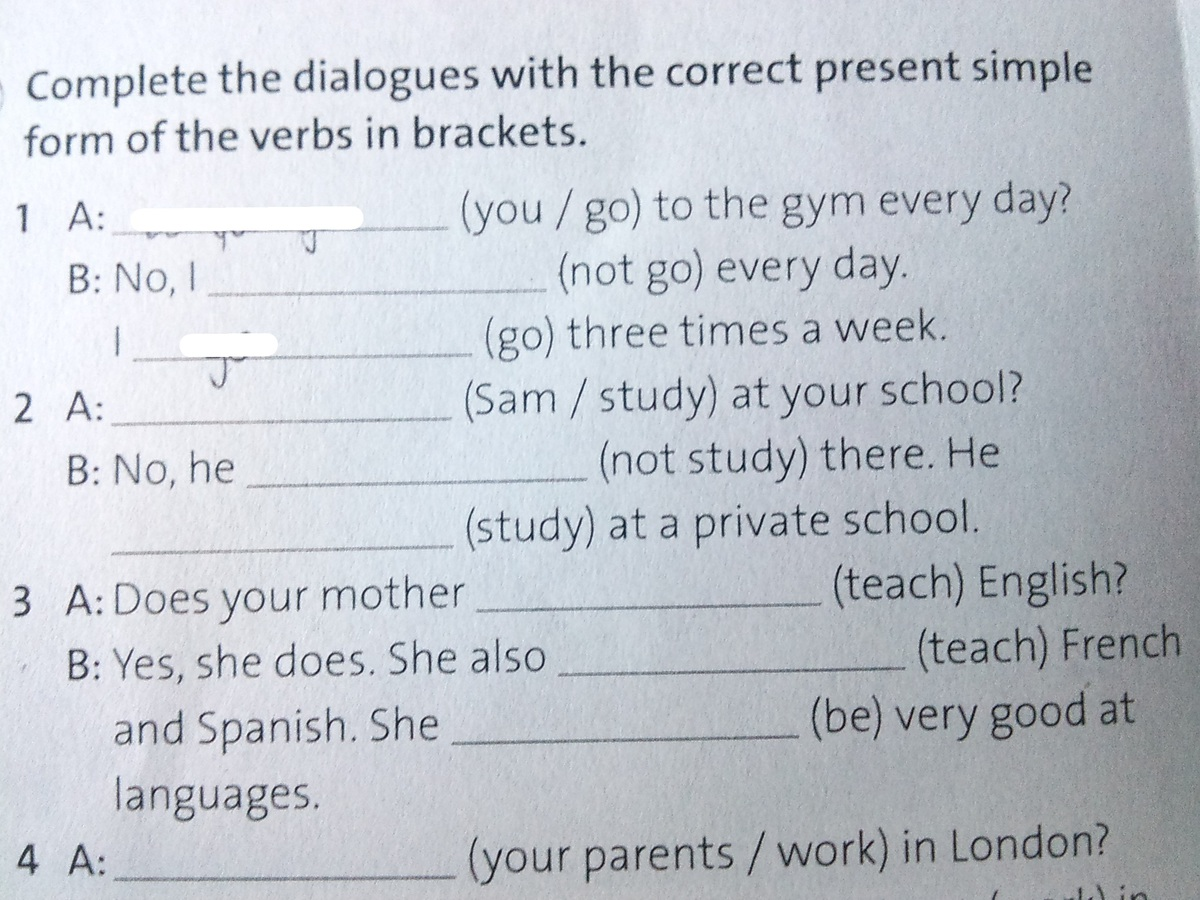 Complete The Dialogue With The Correct Present Simple Form