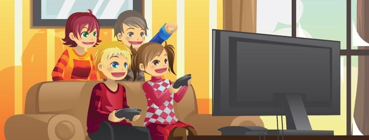 dzieci grają na konsoli