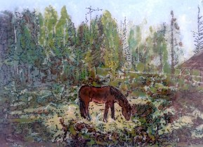 Jivan Mariam paard in bos