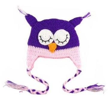 bonnet-chouette-violet-rose
