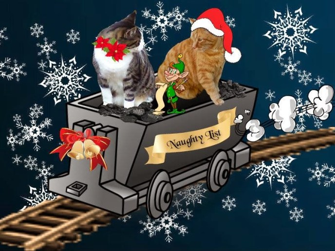 The Naughty List a christmas story picture with two cats in a sleigh