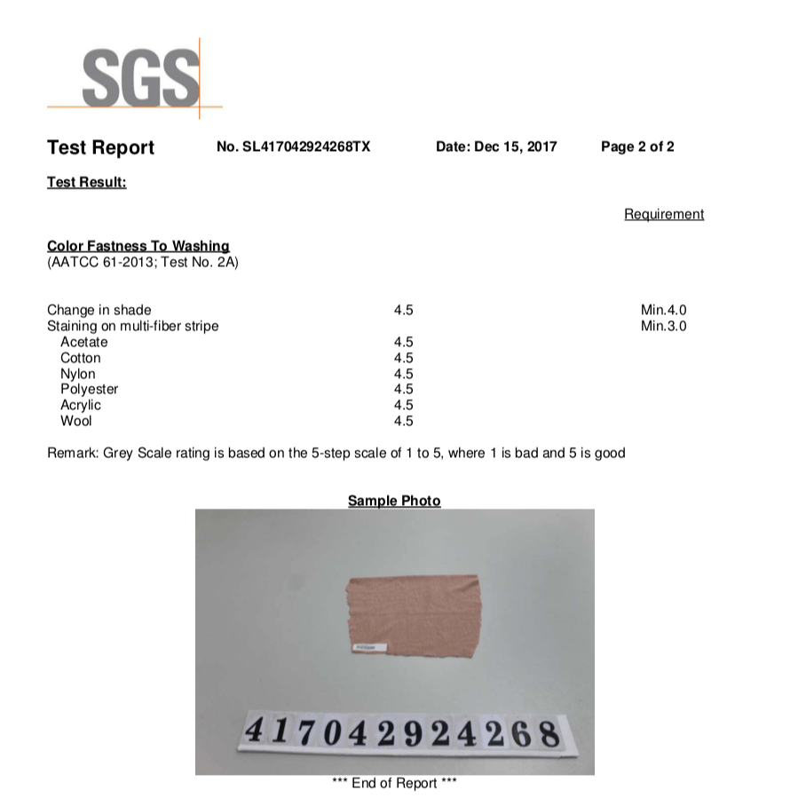 Fabric test report