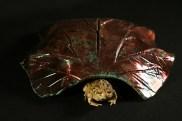 Raku rhubarb leaf toad house, large - $45