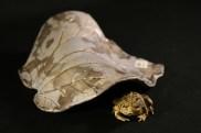 #047 Raku rhubarb leaf toad house, medium - $35