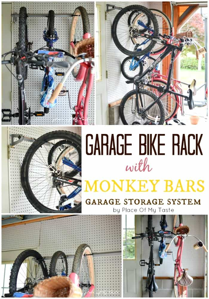 garage bike rack from monkey bars