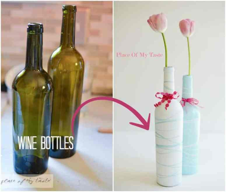 Wine bottles to pretty vases by Place Of My Taste