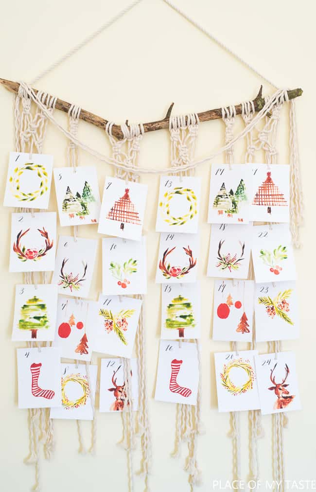 Christmas Countdown Watercolor Printable Cards | Place of My Taste