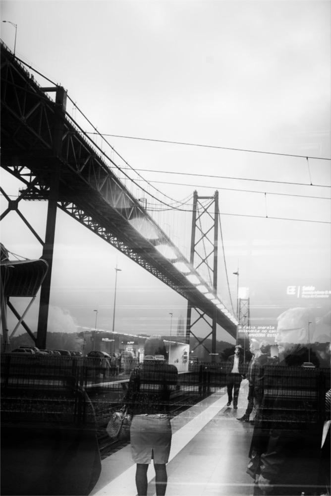 Ponte 25 de Abril Lisbon double exposure black and white photo
