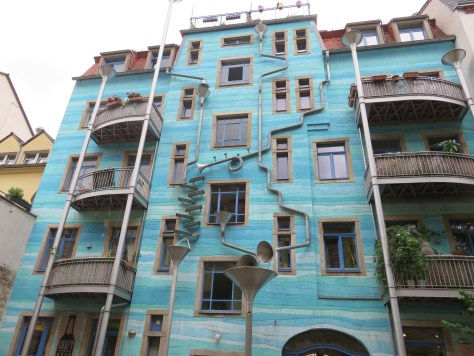 "Kunsthof Passage ""Court of Water"" musical sculptures in Dresden, Germany"