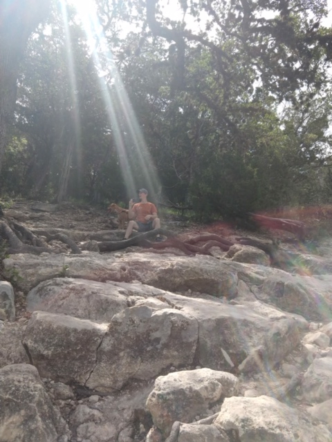 Bathed in sunlight on the rocks at scenic overlook park at canyon lake.