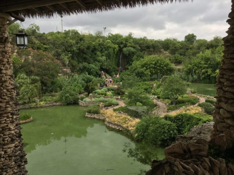 View of the waterfall from the pagoda.