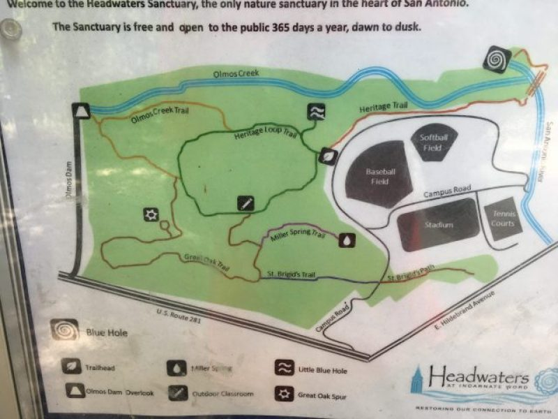 Trail map at Headwaters Sanctuary, the spookiest place in San Antonio.