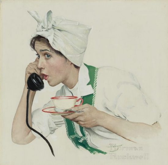 american housewife at tea break Norman Rockwell