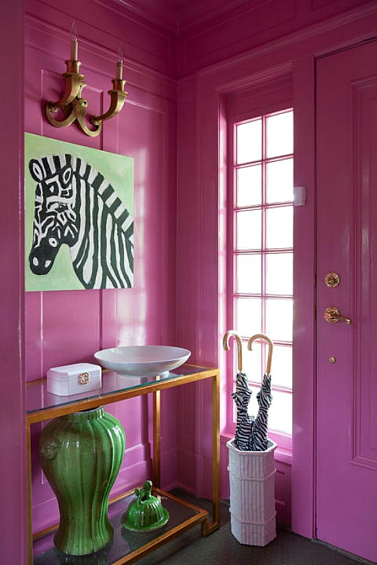 gold-leafed-console-pink-foyer-pink-front-door