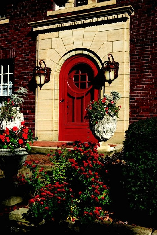 red-arched-front-door