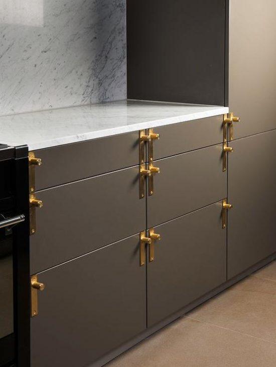 grey-flat-front-kitchen-cabinets-antique-brass-hardware