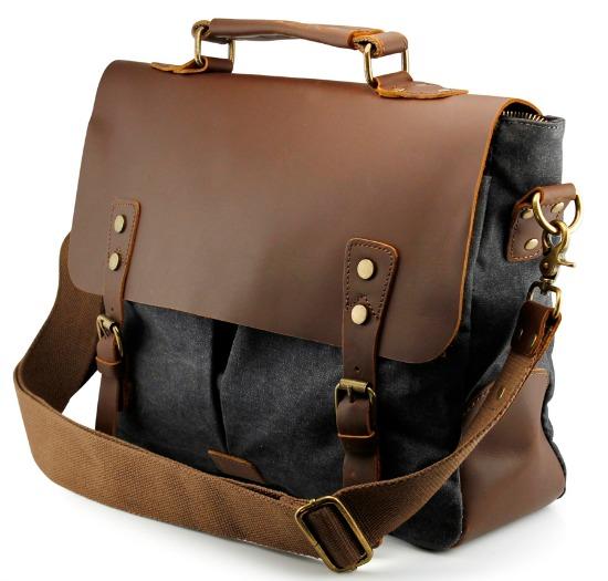 Men's Vintage Canvas Leather Satchel School Military Messenger Shoulder Bag Travel Bag