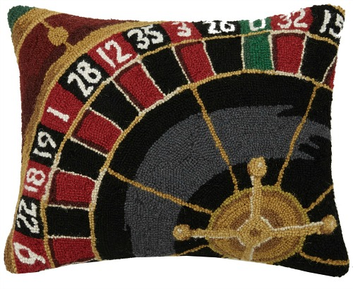 Sports+and+Game+Room+Roulette+Hook+Wool+Lumbar+Pillow