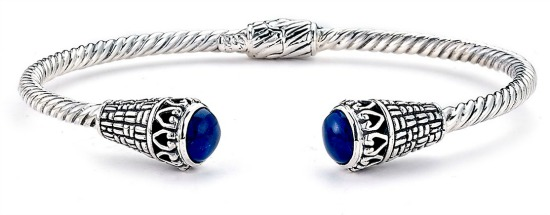 Sterling Silver Twisted Lapis Bangle Bracelet