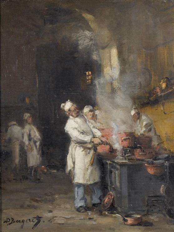 Denis-Pierre_Bergeret_Geschäftiges_Treiben_in_der_Küche