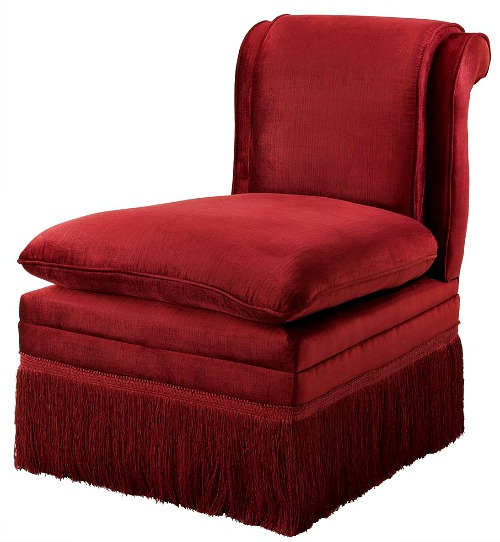 Eichholtz Boucheron French Country Red Fringe Armless Slipper Chair