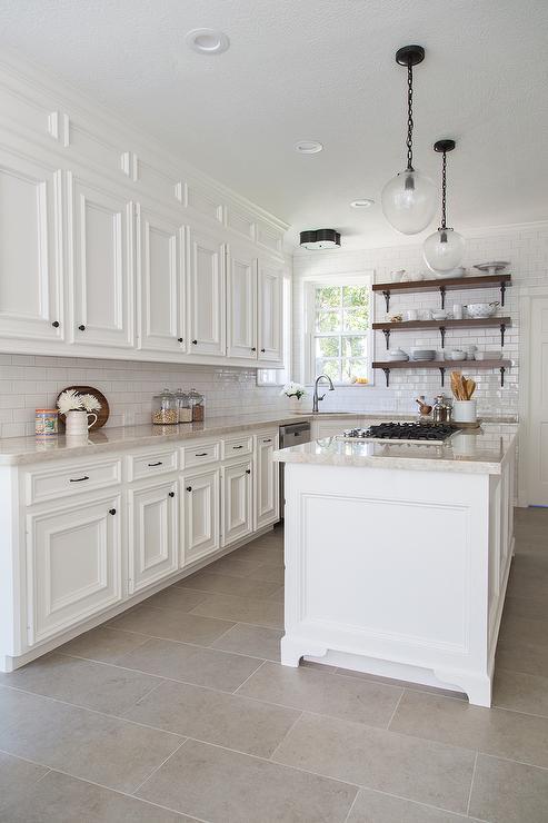 white-kitchen-cabinets-cream-quartzite-countertops