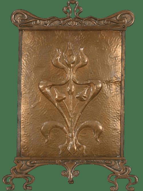 arts & crafts antique copper fire screen
