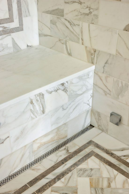 marble tile shower bench