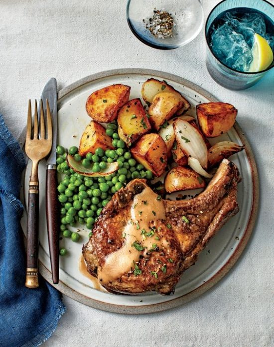 Fried Pork Chops with Peas and Potatoes Recipe