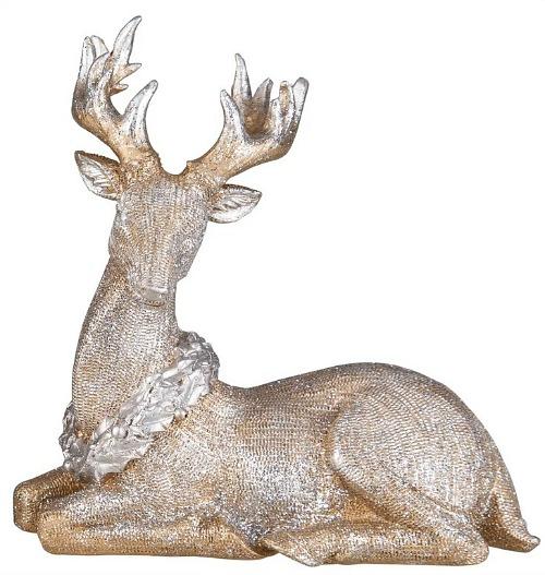 Desmond Resin Glitter Sitting Reindeer