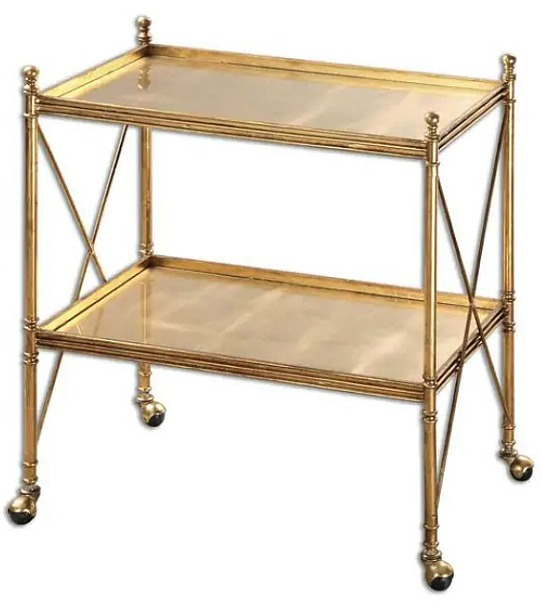 Uttermost Amaranto Gold Serving Tea Cart
