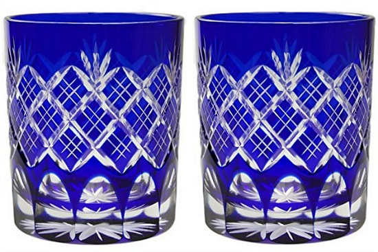 Double Old Fashioned Glass 9.4Oz Edo Kiriko Design Cut Glass Kasane Yarai - Blue