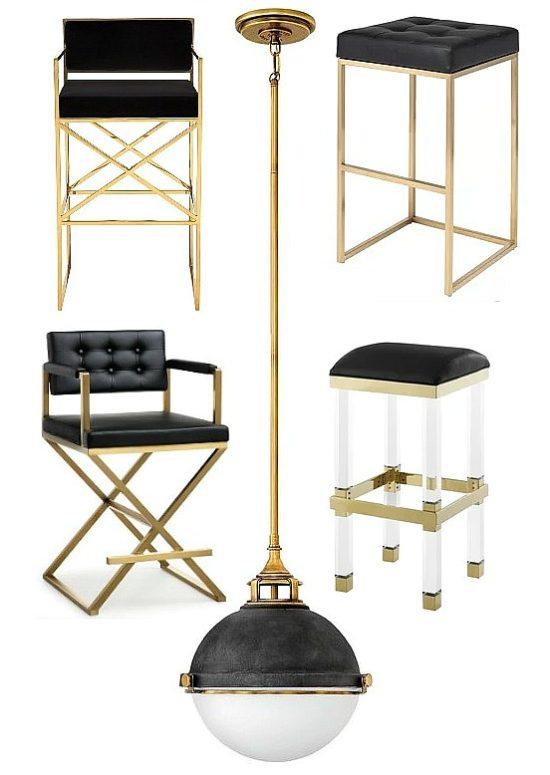black gold bar stools