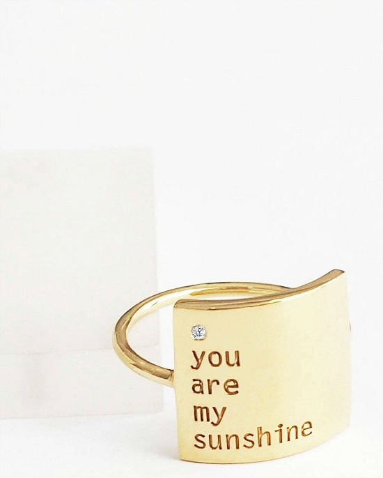 you are my sunshine personalized ring