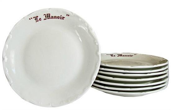 "Vintage Porcelain ""Le Manoir"" French Dessert Plates - Set of 8"