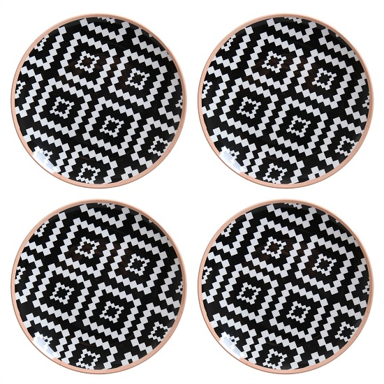 Melamine Black and White Geometric Mix and Match Dinner Plates, Set of 4
