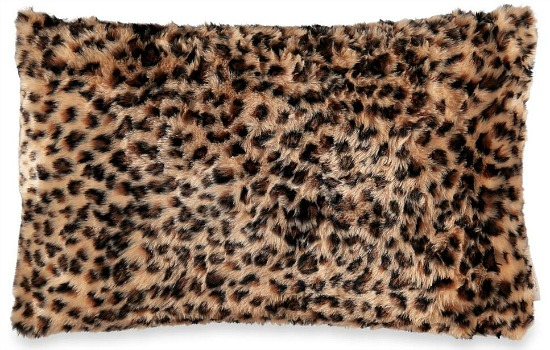 Cardinal Leopard Faux Fur Decorative Pillow