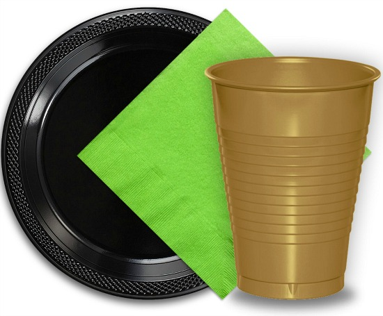 paper-napkins-lime-green-black-gold