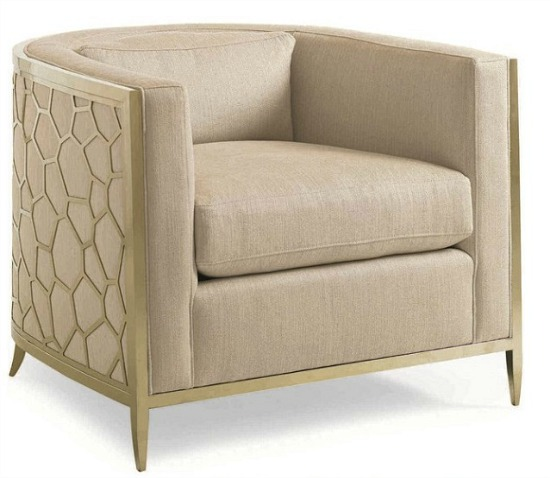 Caracole Classic Neutral Cream Gold Bullion Barrel Accent Chair