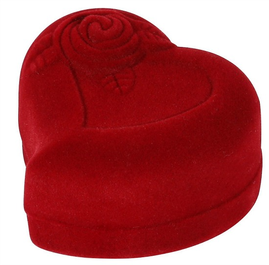 Heart-Shaped Red Rose Jewelry Gift Box Case for Ring Earring