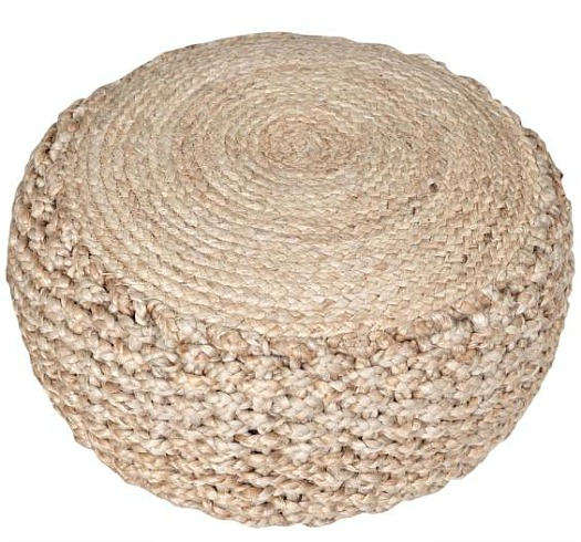 Criss Knit Hemp Natural Round Indoor Floor Pouf