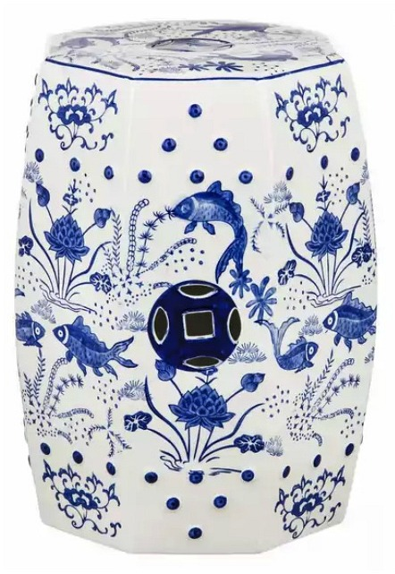Safavieh Cloud 9 Chinoiserie Blue Garden Stool