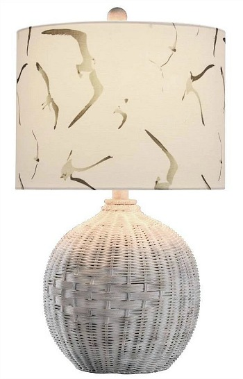 White Rattan Table Lamp Natural