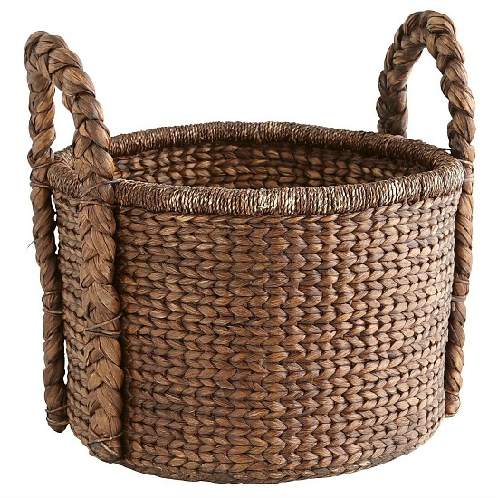 Carson Espresso Wicker Round Large Basket