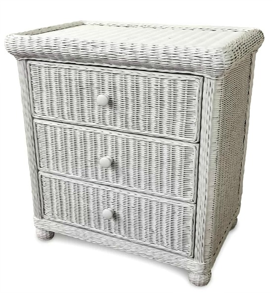wicker rattan 3 drawer chest