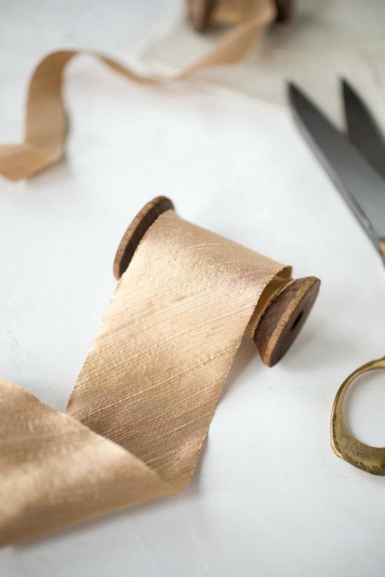 Gold Taupe Bias-Cut Dupioni Silk Ribbon