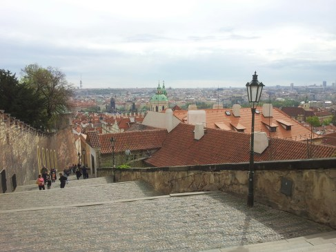View from the top of Prague Castle steps