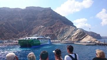 Approaching Athinios Port at Santorini