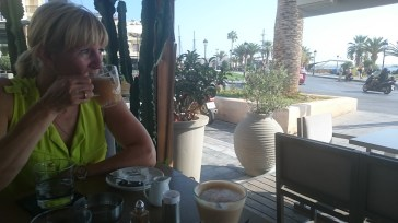 Seafront Taverna, Rethymno. Rated by Deborah as her second worst cup of tea in the world, ever!